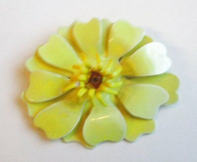VTG Brooch Pin Tiered Celluloid Flower Art Deco Enamel Yellow Runway AWESOME 102