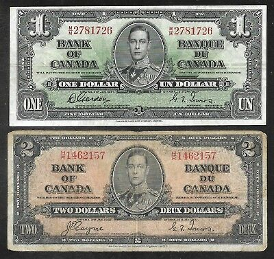 Canada - Old 1 & 2 Dollar Notes - 1937 - P58d/VF - P59c/VG+