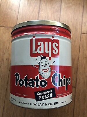 Vtg 40s 50s Lay's Potato Chips Metal Can Antique Advertising Richmond Va