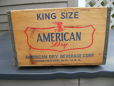 Vintage AMERICAN DRY wooden soda crate, Manchester, NH 1950's-1960's