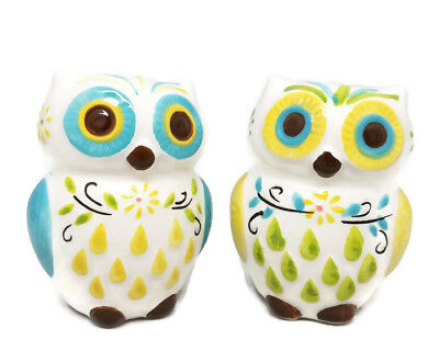 Owl Flower Spring Salt and Pepper Shaker Set Ceramic Shakers Kitchen Decor New