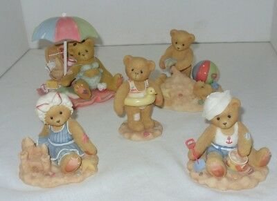 Cherished Teddies Beach Figurines 5 piece lot Collectible Figures Teddy Bear