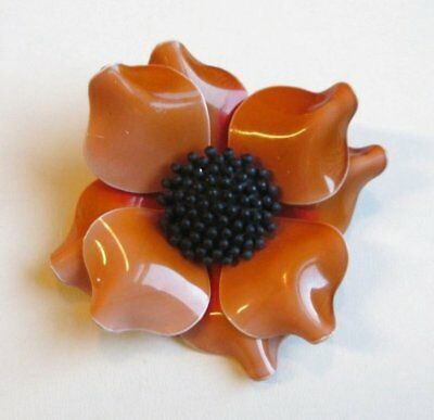VTG Brooch Pin Tiered Celluloid Flower Art Deco Amber Color Black Enamel AWE 103