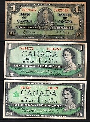"Canada - 1937-67 Bank of Canada 3X1 Dollar note P58d-74b-84a  ""KG VI""  ""QEll"""