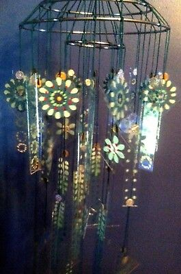 Vintage style Japanese Chinese Glass Wind Chime LARGE MINT, MIST, TEAL