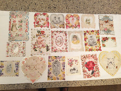 Lot of 18 Vintage Victorian Valentine Greeting Cards Antique - Beautiful!