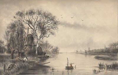 Antique 19th Century Dutch Landscape Watercolor by E Faber