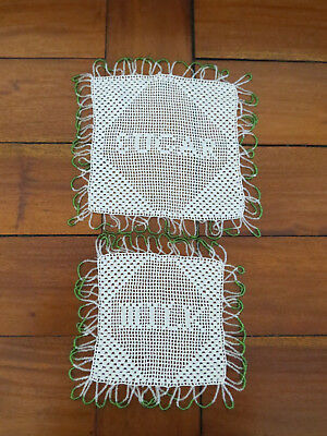 """2 Vintage Filet Crochet Jug Covers - """"Milk and Sugar"""" matching tiny beads..."""