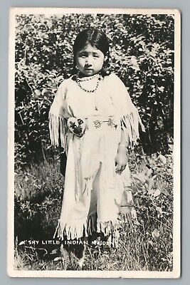 """Shy Little Indian Maiden"" RPPC Crow Agency DPO Vintage Native American Photo 58"