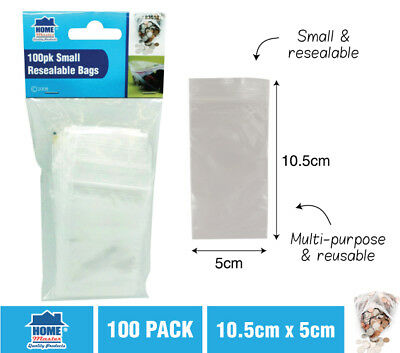 100 x Small Zip Lock Plastic Bags Resealable Zipper Clear 5 X 10.5 cm NEW