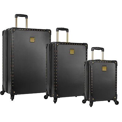 New Vince Camuto Jania 3Pc Luggage Set Spinner Wheels Black Gold Studs $1080