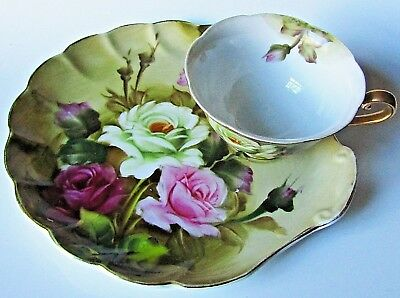 Vintage Lefton Heritage Snack Set Rose Floral