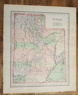 Antique Colored MAP/GRAY'S - UTAH (or Arizona & NM) - The National Atlas 1893
