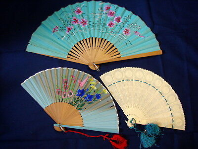 Beautiful LOT OF 3 Vintage TEAL Chinese Folding Fans Wall Art Collectibles