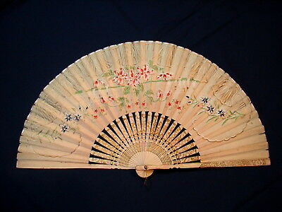 Beautiful Vintage Very Ornate Bamboo Folding Fan w/ Gold Details