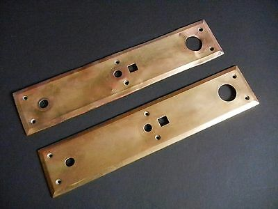 PAIR Antique EXTERIOR Brass DOOR Knob PLATES 14 1/2 x 3 1/8 ORIGINAL c.1910