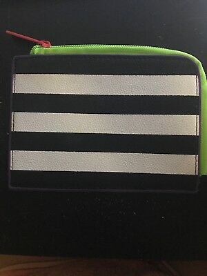 Sephora Black White Stripe Gift Card Zipper Holder Pouch Coin Purse w/ 3 Samples