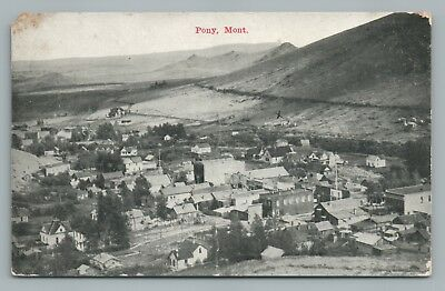 Pony Montana GHOST TOWN Madison County—Rare Antique Postcard DPO Cancel 1910