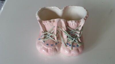 1970 Vintage Ceramic Pink Baby Shoes with Blue Laces Excellent Condition