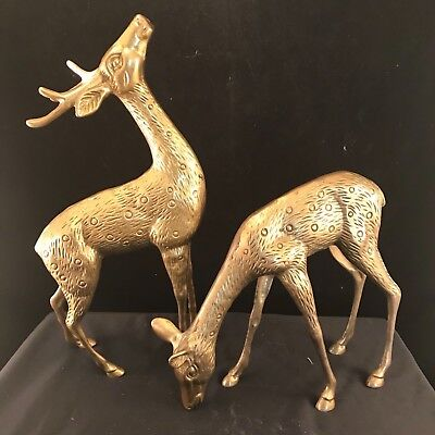 Mid-Century Brass Guarding Stag and Feeding Doe Sculpture's