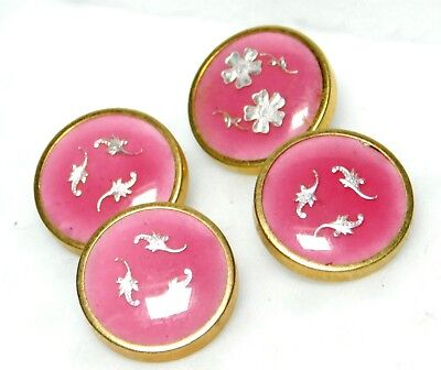 4 SPLENDID Antique FRENCH Buttons PINK Enamel with White FOIL under GLASS B21