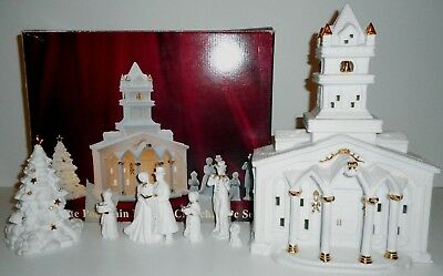 New: White Porcelain Lighted Church Christmas Decoration 8 Piece Set