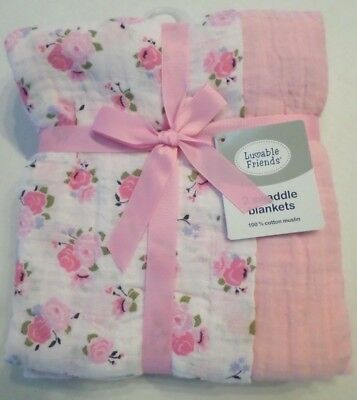 Luvable Friends Baby Girls 2 Pk Muslin Swaddling Blankets Roses/Solid Pink 46x46