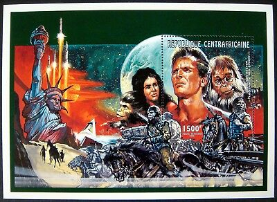 Planet Of The Apes Stamps Souvenir Sheet 1995 Mnh Central Africa Charlton Heston