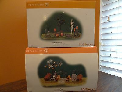 Dept 56 Creepy Haunted Front Yard Lighted Halloween Graveyard Village Accessory