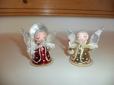 Vintage Christmas Angels Cardboard Foil Cone Body Spun Cotton Head Candle Tree