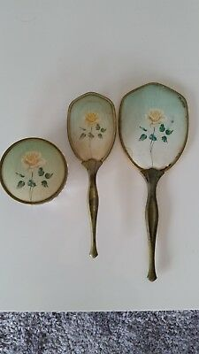 1967 Dresser Set Hand Mirror, Brush and Jewerly Crystal Bowl Flowers Gold Trims
