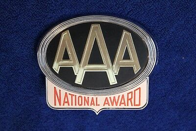 Vintage AAA National Award License Plate Topper Accessory Grille Badge Emblem