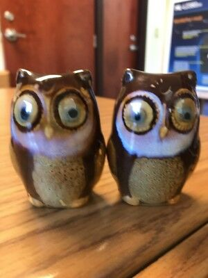 Unique Hand crafted Owl Salt and Pepper Shakers, Ceramic, Glazed, Earth tones