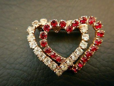 Vintage Brooch Pin Intertwined Ruby Red & Clear Rhinestone Hearts