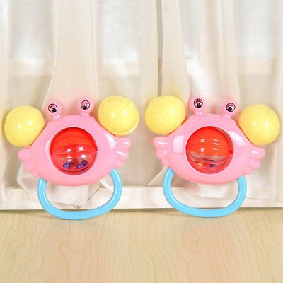 Baby Rattles Bell Toy Crab Shape Gripping Rattle Handbell Musical Instrument Toy