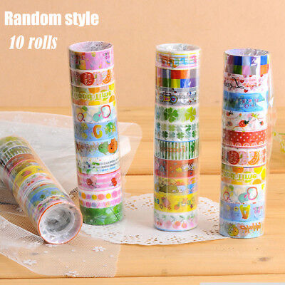 10Pcs/Set Lots Paper Sticky Adhesive Stickers Decorative Washi Tapes Magic Top