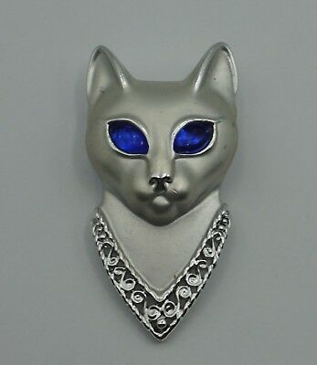 AJC Silver Tone Cat Pin Brooch With Big Blue Eyes Vintage Futuristic Space Cat