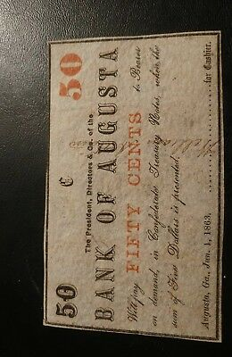 Augusta, Georgia, Confederate, Civil War, 50 Cent Fractional Currency Note.