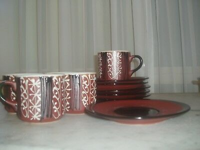 Vintage Cup and Saucer Set  (5)Brown Black White 1970's E.C.