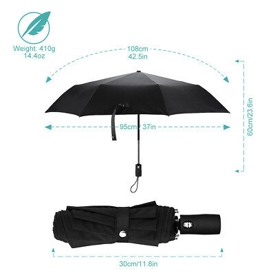 Automatic Travel Umbrella, Auto Open and Close for One-Handed Operation 210T
