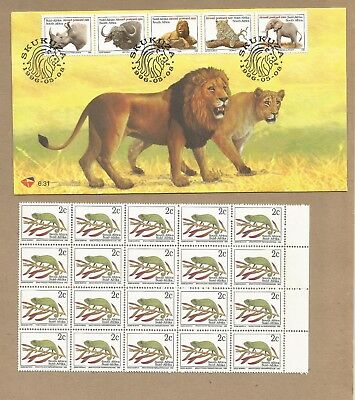 SA: FDC + Block 20 MNH + Comm Cover + 3 P'Stat Postcards.(one unused)  (Ref 336)