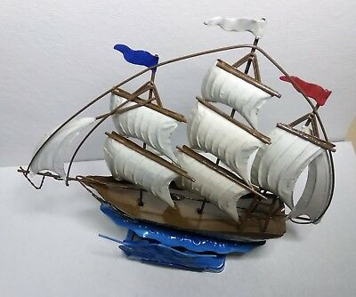 Antique Vintage Copper Tin Metal Sailing Ship Moving Music Box plays Red Sail in