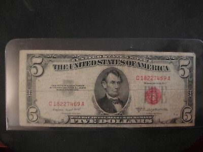1953 series B $5 Five Dollar Red Seal Note Bill US Currency