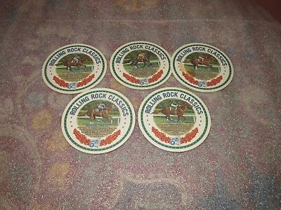 ROLLING ROCK BEER HORSE RACING COASTERS(5) Very Nice RARE Rolling Rock Classics