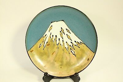 """Vintage Antique Rare Japanese Pottery Mt Fuji 15"""" Charger Display Plate Signed"""