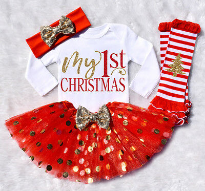 "US ""My 1st Christmas""Baby Girl Romper+Dot Dress+Leg Warmers 5Pcs Outfits Clothes"