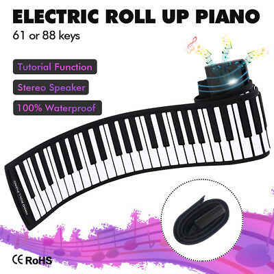 Portable 61/88 Keys Electronic Roll Up Piano Flexible Silicone HandRoll Keyboard