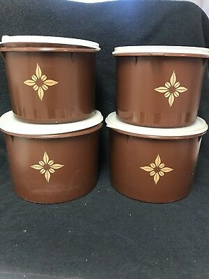 4pc Tupperware Brown Canister Set