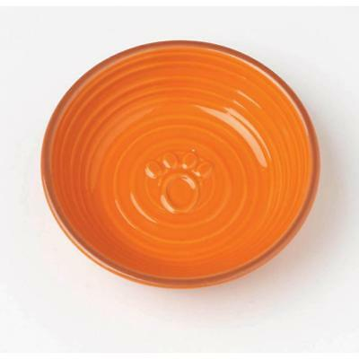 Key West Embossed Paw Pet Saucer- Orange