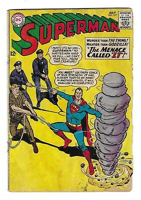 SUPERMAN no.177 SILVER AGE DC NATIONAL .12 CENT COMIC BOOK Lois Lane CIRCA 1965